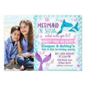 Mermaid and Shark Photo Birthday Invitation