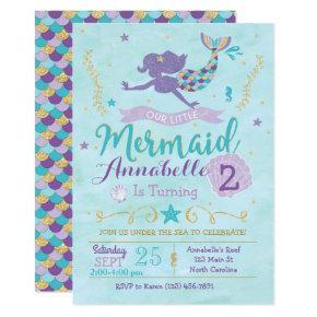 Mermaid Birthday Invitations, Mermaid Invite