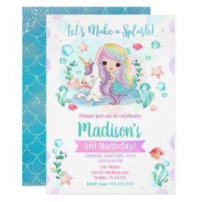 Mermaid Birthday Invitation / Mermaid & Unicorn