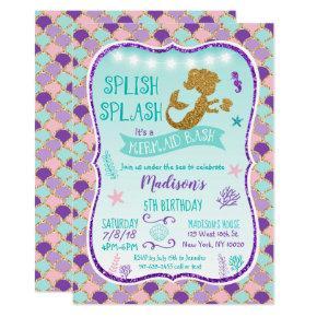 Mermaid Birthday Invitation Purple Gold Teal