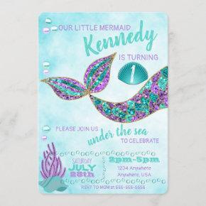 Mermaid Birthday Invitation, Under the Sea Party Invitation