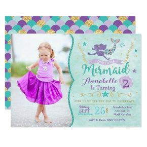 Mermaid Birthday Invite With Photo