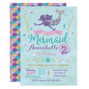 Mermaid Birthday Party Invitations Purple Pink Gold