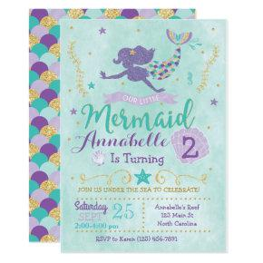 Mermaid Birthday Party Invitations Purple Teal Gold