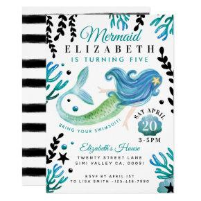 Mermaid Birthday Swimming Pool Party Invitation