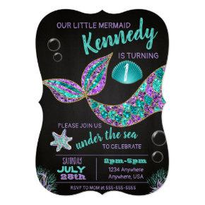 Mermaid Chalkboard birthday invitation, glitter Invitation