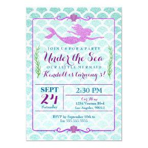 Mermaid Girl's Birthday Party Invitations