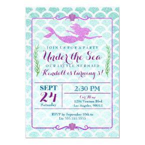 Mermaid Girl's Birthday Party Invitation