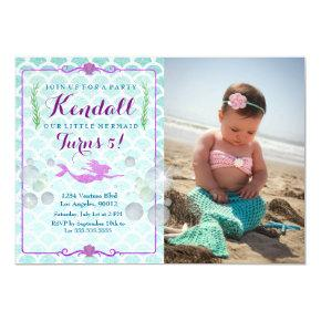 Mermaid Girl's Birthday Party Photo Invitations
