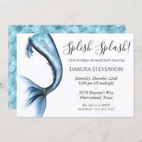 Mermaid Glitz Splish Splash | Princess Blue Party Invitation