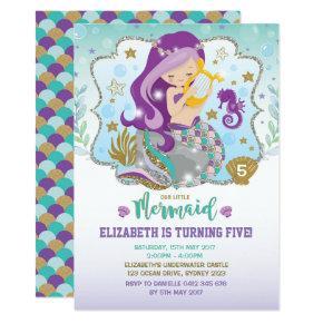 Mermaid Invitation Birthday Pool Party Invites