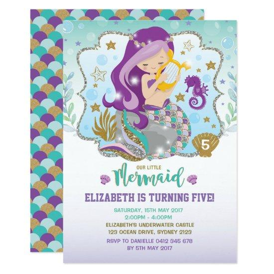 Mermaid Invitations Birthday Pool Party Invites