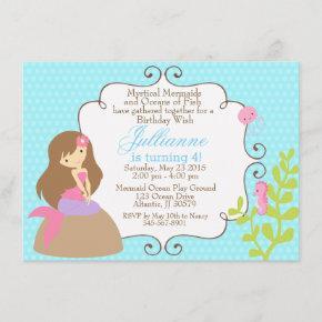 Mermaid invitation for a girl birthday