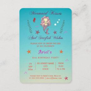Mermaid Kisses and Starfish Wishes | Party Invite