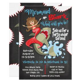 Mermaid or Shark Birthday Pool Party Invitations