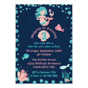 Mermaid Party | Girl's 3rd Birthday Party Invitations