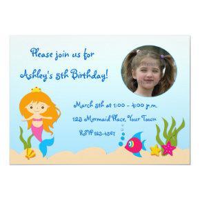Mermaid Photo Birthday Invitation