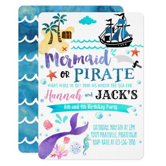 Mermaid Pirate Birthday Invitation Party Dual Candied Clouds