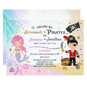 Mermaid Pirate Birthday Invitations Siblings Party