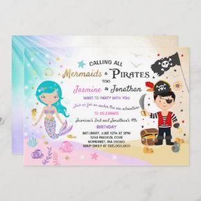 Mermaid Pirate Birthday Invitation Siblings Party