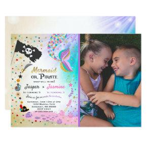 Mermaid Pirate Birthday Invitation Siblings Party Candied Clouds