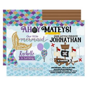 Mermaid Pirate Birthday Party Invitation
