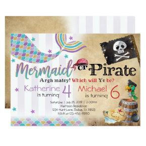 Mermaid Pirate Birthday Party Invitations Siblings