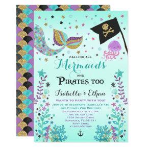 Mermaid & Pirate Birthday Sibling Boy Girl Invite