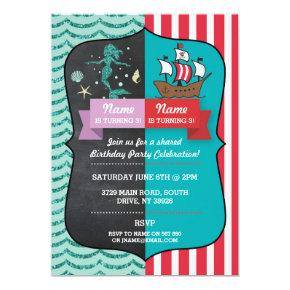 Mermaid & Pirate Joint Boy Girl Birthday Invites