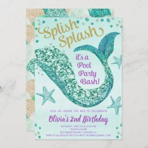 Mermaid pool party birthday, teal gold purple invitation