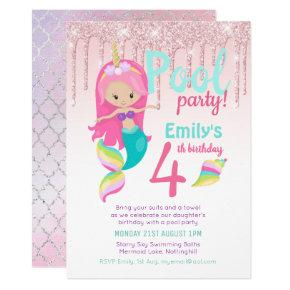 Mermaid POOL Party Purple Pink Silver Glitter Girl Invitation