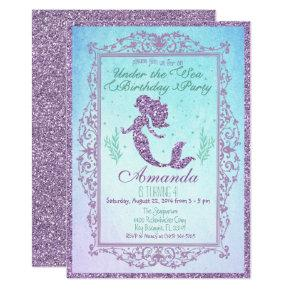 Mermaid Pool Party Under the Sea Birthday Invitations