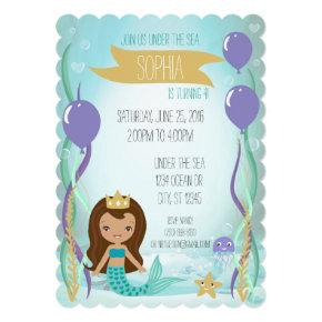 Mermaid Princess Party Invitations ( Latin)