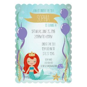 Mermaid Princess Party Invitations ( Red)