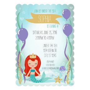Mermaid Princess Party Invitation (5x7 Red)