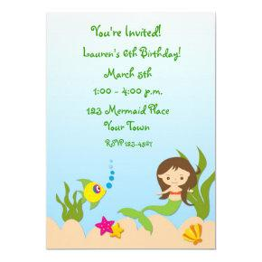 Mermaid Scene Birthday Invitation