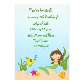 Mermaid Scene Birthday Invitations