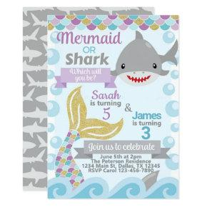 Mermaid Shark Birthday Party Invitation Invite