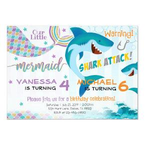 Mermaid Shark Birthday Party Invitations Siblings