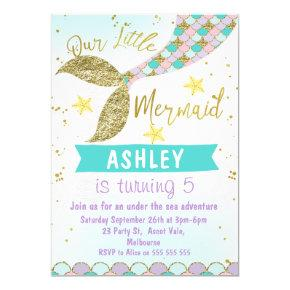 mermaid Tail Birthday Invitations