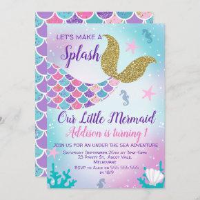 Mermaid Tail Gold Pink Purple Birthday Invitation