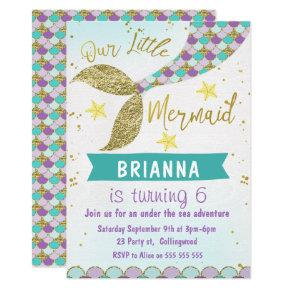 Mermaid Tail Under The Sea Birthday Invitations