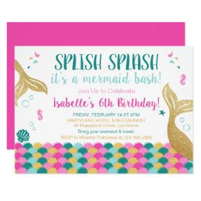 Mermaid Tails Under the Sea Birthday Invitation