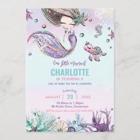 Mermaid Under the Sea Birthday Party Ocean Sea Invitation