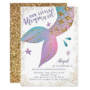 Mermaid Under the Sea Gold Glitter Birthday Party Invitation