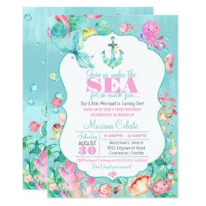 Mermaid Under the Sea Nautical First Birthday Invitation
