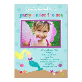 Mermaid Under the Sea Party Invitations