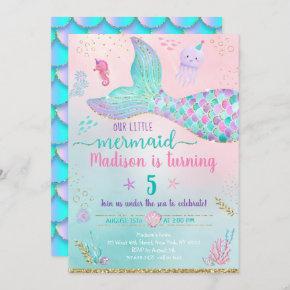 Mermaid Under The Sea Pink Gold Birthday Invitation