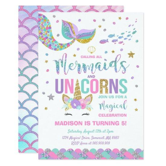 mermaid unicorn birthday invitations magic party candied clouds