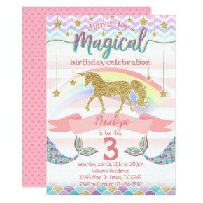 Mermaid Unicorn Birthday Party Invitation Invite